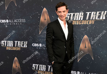 """James Frain, a cast member in """"Star Trek: Discovery,"""" poses at the premiere of the new television series, in Los Angeles"""