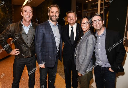 """Brent, Forrester, Judd Apatow, Ted Sarandos, Lisa Nishimura, and Robbie Praw seen at a screening of the Netflix comedy special """"Jerry Before Seinfeld"""" in Los Angeles on Tuesday September 19th."""