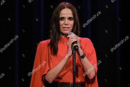 Stock Image of French singer Melissa Mars sings the national anthem of France 'La Marseillaise'