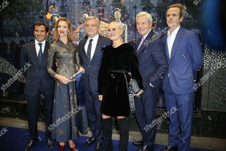 Stock Image of Nicolas Houze, Natalia Vodianova, Sidney Toledano, CEO of Christian Dior, Maria Grazia Chiuri, Guillaume Houze, Chairman of galerie Lafayette group, and Philippe Houze
