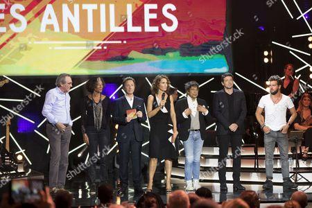 Philippe Lavil, Mariejosee Alie, Stephane Bern, Marie-Sophie Lacarrau, Laurent Voulzy, Patrick Bruel et Claudio Capéo