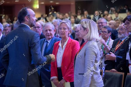 Stock Photo of French Prime Minister Edouard Philippe, French Junior Minister in charge of Disabled People Sophie Cluzel and French La Republique en Marche (REM) party lawmaker and MP, Barbara Pompili