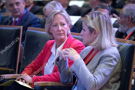 Stock Image of French Junior Minister in charge of Disabled People Sophie Cluzel and French La Republique en Marche (REM) party lawmaker and MP, Barbara Pompili