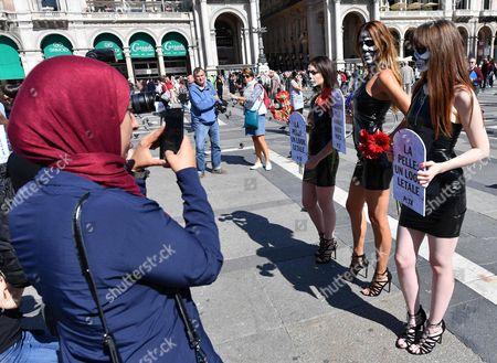 Editorial image of Milan Fashion Week - Peta Protest, Italy - 20 Sep 2017