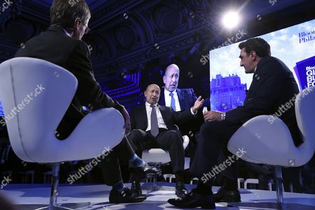 (L-R) Moderator and President of Eurasia Group Ian Bremmer, Chairman and CEO of Goldman Sachs Lloyd Blankfein and Chief Executive, Managing Diretor and Secretary-general of the Board, Public Investment Fund, Kingdom of Saudi Arabia Yasir bin Othman Al-Rumayyan speak during a discussion titled 'Development, Investment and the Future of Energy in the Middle East' during the inaugural Bloomberg Global Business Forum at the Plaza Hotel in New York, New York, USA, 20 September 2017. The forum will feature more than 50 heads of state and 250 international CEOs as it is held on the sidelines of the ongoing nearby General Debate of the United Nations General Assembly.
