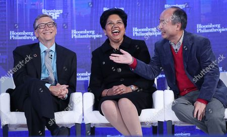 (L-R) Bill and Melinda Gates Foundation co-founder Bill Gates, PepsiCo Chairman and CEO Indra Nooyi and SoftBank Group Corp. Chairman and CEO Masayoshi Son during a discussion titled 'How Technology is Disrupting Poverty, Energy and Health Care' during the inaugural Bloomberg Global Business Forum at the Plaza Hotel in New York, New York, USA, 20 September 2017. The forum will feature more than 50 heads of state and 250 international CEOs as it is held on the sidelines of the ongoing nearby General Debate of the United Nations General Assembly.