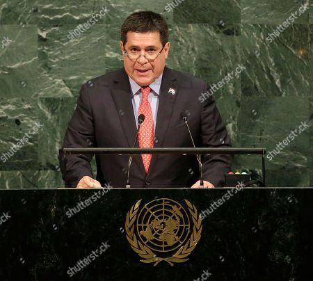 Horacio Manuel Cartes Jara. Horacio Cartes, President of Paraguay, speaks during the United Nations General Assembly at U.N. headquarters