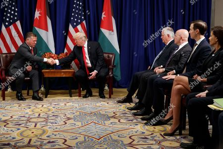 Donald Trump, King Abdullah II, Dina Powell, Jared Kushner, H.R. McMaster, Rex Tillerson. President Donald Trump meets with Jordan's King Abdullah II at the Palace Hotel during the United Nations General Assembly, in New York. From left, Abdullah II, Trump, Secretary of State Rex Tillerson, National Security Adviser H.R. McMaster, White House senior adviser Jared Kushner, and Deputy National Security adviser Dina Powell