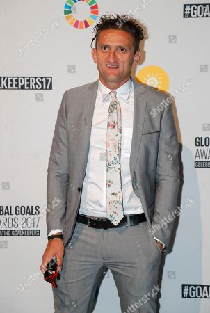 Casey Neistat, poses for photos before the Goalkeepers Global Awards dinner, in New York