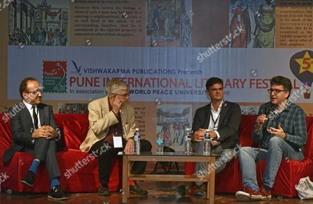 Roman Gerodimos, American writer, film director Neil Hollander, Thomas Biebl and Daniel Hahn, British writer, editor and translator during the Pune International Literary Festival