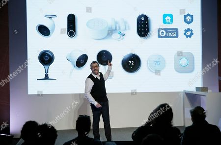 Stock Image of Matt Rogers, founder and Chief Product Officer of Nest Labs, during an event, in San Francisco. Home device maker Nest Labs is adding Google's facial recognition technology to a camera-equipped doorbell and rolling out a security system in an attempt to end its history of losses. The products announced Wednesday expand upon the internet-connected thermostats, smoke detectors and stand-alone security cameras that Nest has been selling since its inception six years ago