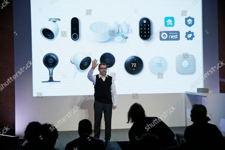 Matt Rogers, founder and Chief Product Officer of Nest Labs, during an event, in San Francisco. Home device maker Nest Labs is adding Google's facial recognition technology to a camera-equipped doorbell and rolling out a security system in an attempt to end its history of losses. The products announced Wednesday expand upon the internet-connected thermostats, smoke detectors and stand-alone security cameras that Nest has been selling since its inception six years ago
