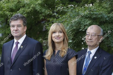 United Nations, New York, USA, September 15 2017 -Miroslav Lajcak, Jarmila Lajcakova Hargasova and Koro Bessho during the annual Peace Bell Ceremony held at UN headquarters in observance of the International Day of Peace (21 September).