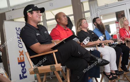 Patrick Reed, Hines Ward, Jenny Robertson, Ryan Lane, Peggy Loos. Panelists from left, 2017 Presidents Cup U.S. team member Patrick Reed, Pittsburgh Steelers legend Hines Ward, Jenny Robertson of FedEx, Ryan Lane of Dream Beard and Peggy Loos of The Coca-Cola Company listen to business pitches at the FedEx Junior Business Challenge finals at the PGA TOUR's TOUR Championship, in Atlanta. Junior Achievement students from across the country presented original business concepts for the opportunity to generate a $75,000 donation from FedEx to their local JA chapter