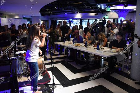 Estelle Morales, age twelve auditions in front of Judges, Phil Collins, Orianne Collins, Nicholas Collins and Betty Wright at the Little Dreams Foundation Annual Music Auditions at Estefan Kitchen on in Miami