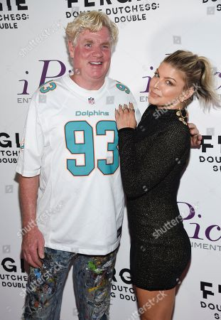 """Stock Photo of Peter Tunney, Fergie. Peter Tunney, left, and Fergie arrives at a premiere screening of her new visual album """"Double Dutchess: Seeing Double"""" visual album at iPic Theaters Fulton Market, in New York"""