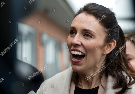 New Zealand Labour Party leader Jacinda Ardern reacts to a question from the media following a visit to a mushroom factory while campaigning in Christchurch, New Zealand, . The 37-year-old is hoping to unseat conservative Prime Minister Bill English, 55, when the nation votes in the general election on Saturday, Sept. 23