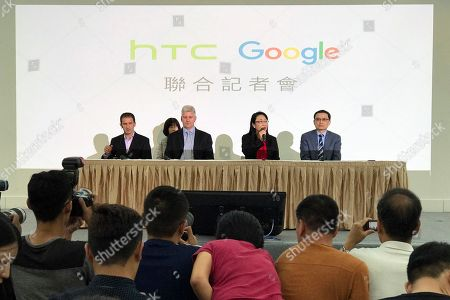 Rick Osterloh, Mario Queiroz, Cher Wang, Chai-Lin Chang. Cher Wang, chairperson of HTC, second from right, speaks during a press conference in New Taipei City, Taiwan, . Google is biting off a big piece of device manufacturer HTC for $1.1 billion to expand its efforts to build phones, speakers and other gadgets equipped with its arsenal of digital services. With Wang is, from left, Mario Queiroz, vice president of product management at Google, Rick Osterloh, senior vice president of hardware for Google, and Chia-Lin Chang, president of smartphones and connected devices for HTC
