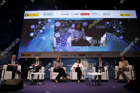 Stock Picture of (L-R) President of Accenture Iberia, Juan Pedro Moreno; President of Indra, Fernando Abril-Martorell; Spanish General Secretary of Industry, Begona Cristeto; President and CEO of Siemens Spain, Rosa Garcia; President of Telefonica, Jose Maria Alvarez Pallete, and President of Santander banking gorup, Ana Botin, take part in the first congress 'Industry 4.0: Beyond Automation and Connectivity' held in Madrid, Spain, 21 September 2017.