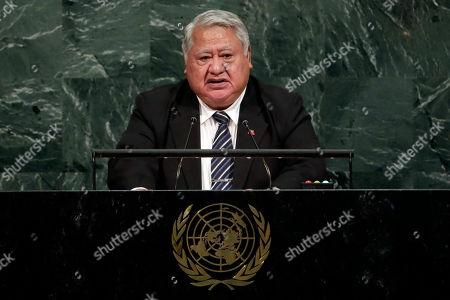 Prime Minister Tuilaepa Sailele Malielegaoi of Samoa addresses the United Nations General Assembly, at U.N. headquarters
