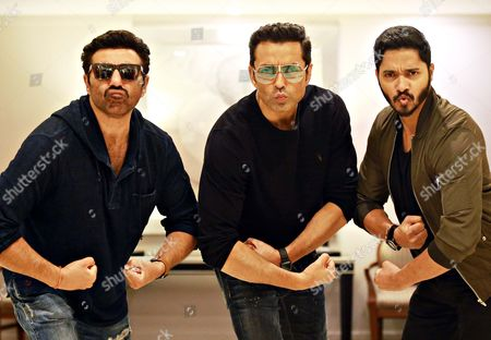Bollywood actors Bobby Deol, Sunny Deol and Shreyas Talpade during an interview with HT City-Hindustan TImes for the promotion of a movie 'Poster Boys', at ITC Maurya