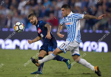 Napoli's Lorenzo Insigne gets a pass away under pressure from SPAL's Federico Viviani.
