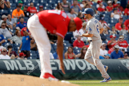 Ricardo Pinto, Andre Ethier. Los Angeles Dodgers' Andre Ethier, right, rounds the bases after hitting a home run off Philadelphia Phillies relief pitcher Ricardo Pinto during the seventh inning of a baseball game, in Philadelphia. Los Angeles 5-4
