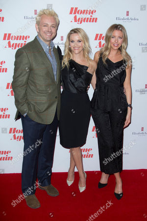 Reese Witherspoon, Michael Sheen, Hallie Meyers-Shyer. Actors Reese Witherspoon, centre and Michael Sheen with Director and writer Hallie Meyers-Shyer, right, pose for photographers upon arrival at the screening for 'Home Again' in London