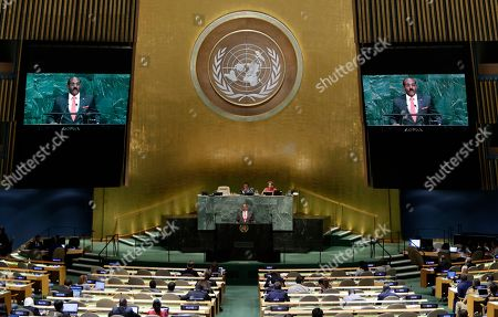 Antigua and Barbuda's Prime Minister Gaston Alphonso Browne addresses the United Nations General Assembly, at the United Nations headquarters
