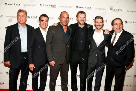 "Tom Bernard, Brian d'Arcy James, Peter Landesman, Liam Neeson, Michael Barker. Tom Bernard, from left, Brian d'Arcy James, Peter Landesman, Liam Neeson, Julian Morris and Michael Barker attend the premiere of ""Mark Felt: The Man Who Brought Down the White House"" at The Whitby Hotel, in New York"