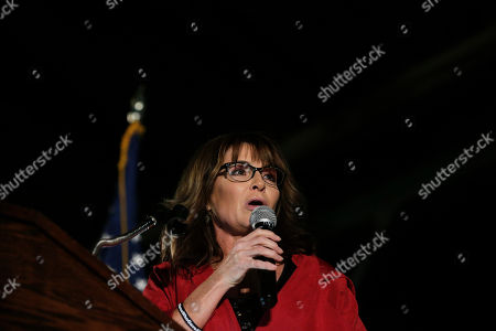 Former Alaska Gov. Sarah Palin speaks at a rally, in Montgomery, Ala. Palin is in Montgomery to support support of Judge Roy Moore for the U.S. Senate candidacy