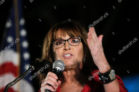Former vice presidential candidate Sarah Palin speaks at a rally, in Montgomery, Ala. Palin is in Montgomery to support Judge Roy Moore for the U.S. Senate candidacy