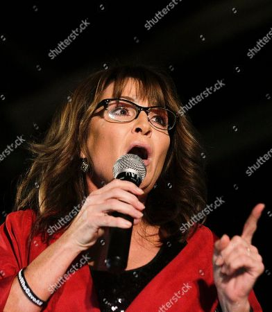 Former Alaska Gov. Sarah Palin speaks at a rally, in Montgomery, Ala. Palin is in Montgomery to support Judge Roy Moore's candidacy for the U.S. Senate