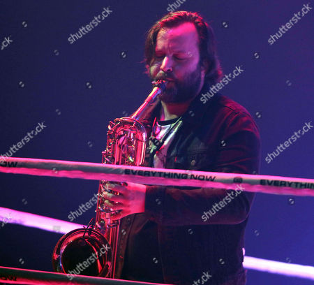 Tim Kingsbury with Arcade Fire performs at the Infinite Energy Center, in Atlanta