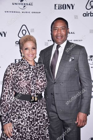 Stock Photo of Linda Johnson Rice, Willard Jackson. Linda Johnson Rice, CEO of Ebony Media and Willard Jackson, EMO Vice Chairman, attend the Universal Music Group and Ebony celebration in honor of Senator Kamala D. Harris (D) during 2017 CBCF ALC at Ajax Gallery, in Washington, DC