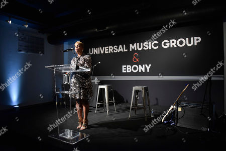 Linda Johnson Rice, CEO of Ebony Media speaks during the Universal Music Group and Ebony celebration in honor of Senator Kamala D. Harris (D) during 2017 CBCF ALC at Ajax Gallery, in Washington, DC