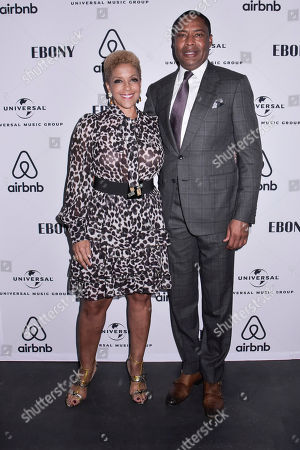 Stock Image of Linda Johnson Rice, Willard Jackson. Linda Johnson Rice, CEO of Ebony Media and Willard Jackson, EMO Vice Chairman, attend the Universal Music Group and Ebony celebration in honor of Senator Kamala D. Harris (D) during 2017 CBCF ALC at Ajax Gallery, in Washington, DC