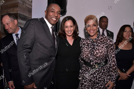 Jeff Harleston, Kamala D. Harris, Linda Johnson. Jeff Harleston, General Council of UMG, Senator Kamala D. Harris (D-CA), and Linda Johnson Rice, CEO of Ebony Media attend the Universal Music Group and Ebony celebration in her honor during 2017 CBCF ALC at Ajax Gallery, in Washington, DC