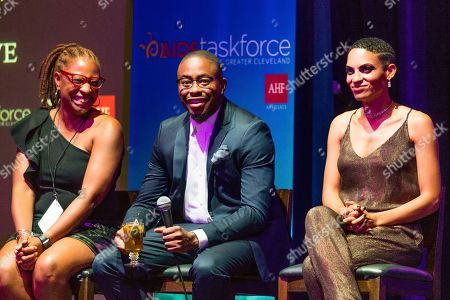 R & B sensations, Raheem DeVaughn, center, and Goapele, right, join AHF Ohio Regional Director, Tracy Jones, left, in a conversation on sexual health at Rise Above presented by AIDS Healthcare Foundation, at the Music Box Supper Club on in Cleveland, OH