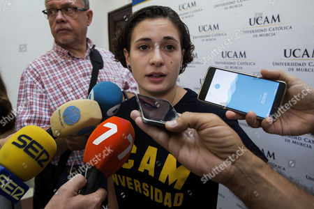 Spanish rider Ana Carrasco, the first female motorcyclist ever to win a world championship, talks to journalists during her visits the Catholic University of Murcia, Spain, 22 September 2017. Ana Carrasco won the world championship in Portimao, Portugal, 17 September 2017, becoming the first woman to win a race in superbike. Carrasco also became the first woman to compete in the Moto3 category back in 2013.