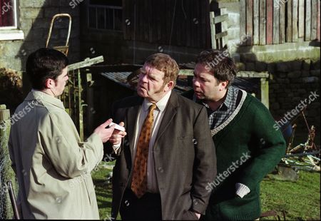 Phil Rowson (as Ned Foy), Geoffrey Hughes (as Vernon Scripps) and David Lonsdale (as David Stockwell)