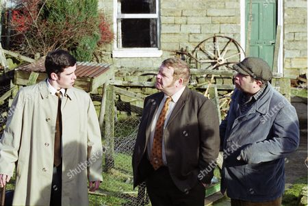 Stock Photo of Phil Rowson (as Ned Foy), Geoffrey Hughes (as Vernon Scripps) and David Lonsdale (as David Stockwell)