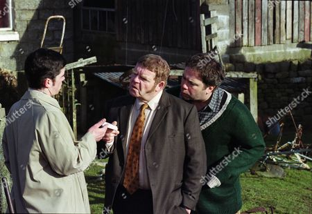Stock Picture of Phil Rowson (as Ned Foy), Geoffrey Hughes (as Vernon Scripps) and David Lonsdale (as David Stockwell)