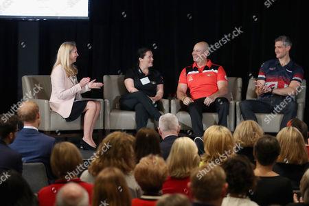 Canadian veteran Mike Trauner, British veteran David Wiseman, far right attends the True Patriot Love Symposium at Scotia Plaza during a pre Invictus Games event