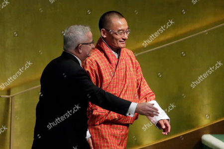 Lyonchoen Tshering Tobgay. Prime Minister Tshering Tobgay of Bhutan is escorted to the podium to address the United Nations General Assembly, at U.N. headquarters