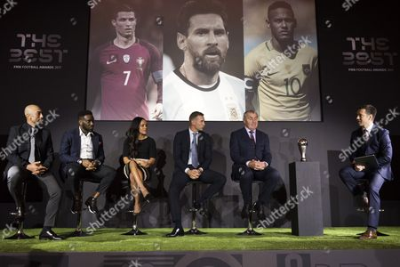 (L-R) Former soccer players Roberto Di Matteo, Jay Jay Okocha, Arsenal's player Alex Scott (C-L), Andriy Shevchenko (C-R) and Peter Shilton (2-R) attend the announcement of The Best FIFA Football Awards Finalists in Central London, Britain, 22 September 2017. The Best FIFA Football Awards ceremony will take place in London on 23 October.