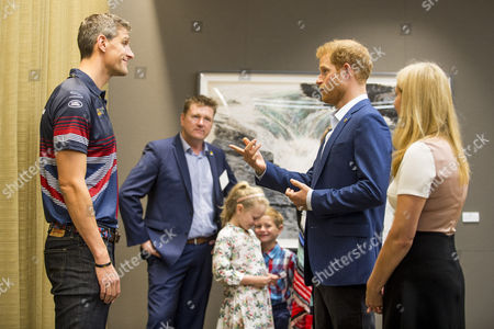 British veteran David Wiseman and Prince Harry during a reception before attending the True Patriot Love Symposium