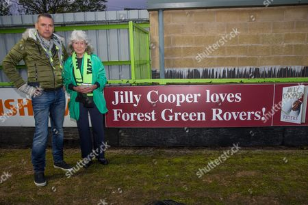 Forest Green Rovers Chairman Dale Vince and Jilly Cooper during the EFL Sky Bet League 2 match between Forest Green Rovers and Swindon Town at the New Lawn, Forest Green