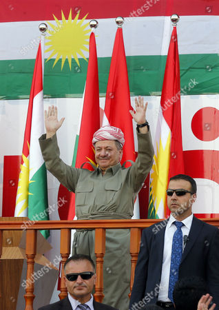 Iraq's Kurdistan region's President Massoud Barzani  (C) arrives to a rally for the Kurdistan independence referendum campaign at the Franso Hariri stadium in Erbil, Iraq, 22 September 2017. The Kurdistan region is an autonomous region in northern Iraq since 1991, with an estimated population of 5.3 million people. The region share borders with Turkey, Iran, and Syria, all of which have large Kurdish minorities. On 25 September the Kurdistan region holds a referendum for independence and the creation of the state of Kurdistan amidst divided international support.