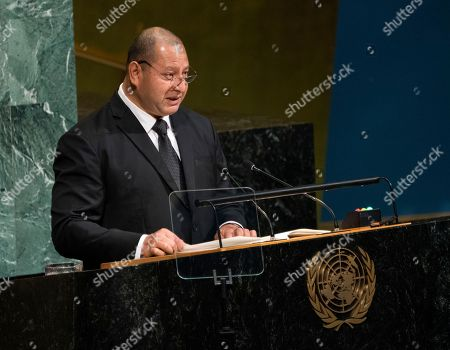 King Tupou VI, of Tonga, addresses the United Nations General Assembly, at U.N. headquarters